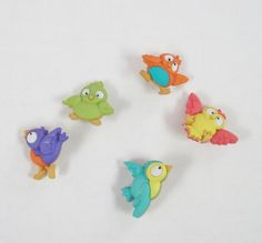 Bird Brain Bird  Buttons  Set of 5 by LaurelArts