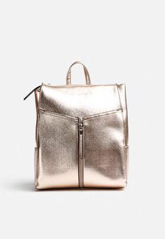 Structured backpacks are a simple way to add some sartorial flair to almost any outfit. This one has a zip-up front and top, side pockets and adjustable straps. Metallic Backpacks, Gifts For Girls, Zip Ups, Pocket, Xmas, Lady, Christmas, Navidad, Noel