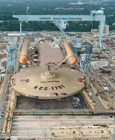 U.S.S. Enterprise NCC-1701 at a Virginia naval ship yard. credit unfound: whoever created this, SHOW YOURSELF! It's brilliant.