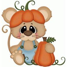 Silhouette Design Store - View Design #65783: fall mouse w pumpkin pnc
