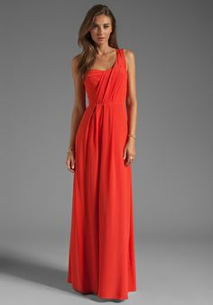 REBECCA TAYLOR One Shoulder Maxi Dress in Poppy - Sale