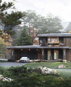 Best interiors of Studia 54 - portfolio Architecture Building Design, Facade Design, Modern Architecture, Architecture Portfolio, Prairie Style Architecture, Prairie Style Houses, D House, Facade House, House Front