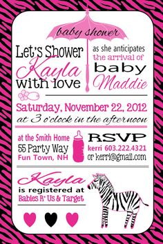 Zebra Baby Shower Invitation Girl Hot Pink by AsYouWishCreations4u