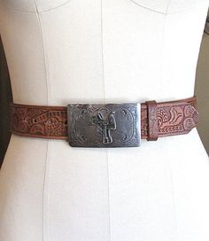 "Vintage Tooled Belt with Western Buckle | Tooled Leather Belt | Western, Boho, Hippie | Size 38-42"" Waist"