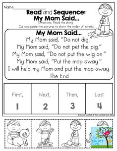 READ and SEQUENCE! Simple stories for BEGINNING and/or STRUGGLING readers.  Read, cut and paste the pictures to show COMPREHENSION!
