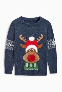 840134d2 Boys Jumpers | Printed & Cable & Zip Through Sweaters. Reindeer Christmas  ...