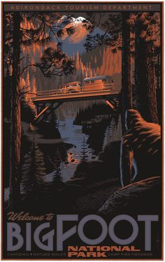 Laurent Durieux Myths and Monsters Bigfoot Poster Release Details National Park Posters, National Parks, Laurent Durieux, Film Mythique, Pie Grande, Omg Posters, Movie Posters, Myths & Monsters, Photo Vintage