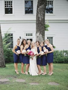 bridesmaids dresses from Bella Bridesmaid at a navy and pink nautical wedding, photos by Geneoh Photography | via junebugweddings.com