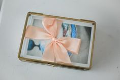 """Wedding photographer proof box glass photo box with gold rim 4x6"""" print samples of proofs in glass box"""