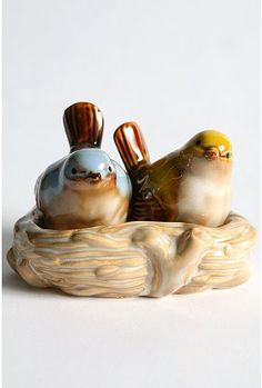 Look how tweet these are! Ceramic painted love birds sit in their cozy little nest until it's time to season!  Imported. Wipe clean.