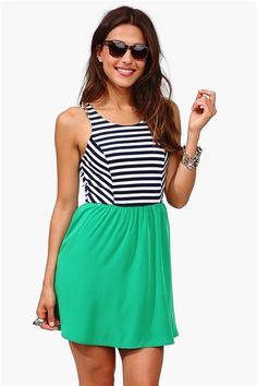 Stripes and Solids Dress - Green