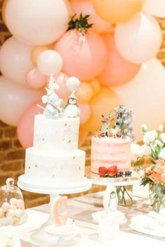 Take a look at this pretty pastel animal's 1st birthday party! Love the cakes!  See more party ideas and share yours at CatchMyParty.com #catchmyparty #partyideas #girl1stbirthday #animals #animalparty #cakes