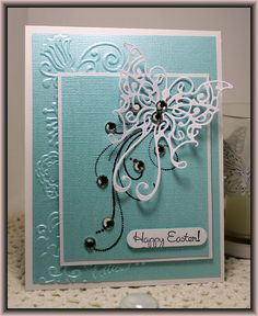 Easter - Cheery Lynn butterfly die and an embossing folder from the Sizzix Floral Vine set