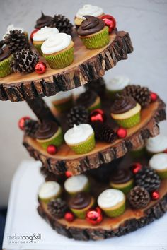 Rustic 3-tiered Custom Wood Tree Slice Cupcake Stand. Would be ideal for a woodland themed baby shower or birthday party, or a rustic wedding or bridal shower.