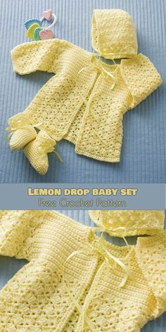 Lemon Drop Baby Set [Free Crochet Pattern] We all associate lemons with being sour, but they don't need to be. This Lemon Drop baby set is sweet, as sweet as the baby Crochet Baby Sweater Pattern, Crochet Baby Blanket Beginner, Crochet Baby Sweaters, Baby Sweater Patterns, Crochet Baby Clothes, Baby Knitting, Crochet Patterns, Crochet Designs, Crochet Baby Outfits