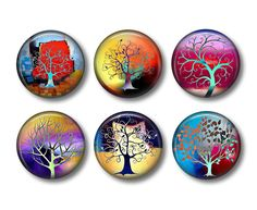 Tree of Life Refrigerator Magnets Flat Backs Set of 6 pcs - Collection #3