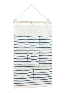 Tandi Linen/Cotton Fabric Wall Door Closet Hanging Storage Bag Case 8 Pockets Home Organizer Blue Strips