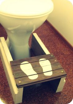 Well, actually for the bathroom.  But a nice way to make a little stool for the little man....whenever we get to that point.