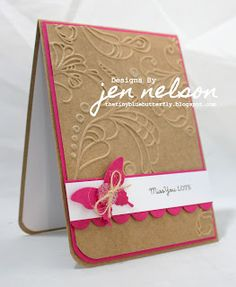 kraft / hot pink card