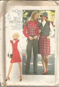 Vintage Simplicity's Factory Folded Jacket High Waist Flare Leg Pants Skirt & Vest Pattern 7118 Size 14 Bust 36 circa  1978 by EvaStAlbans on Etsy