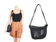 Black Leather Slouchy Shoulder Bag // Giani by IntertwinedVintage