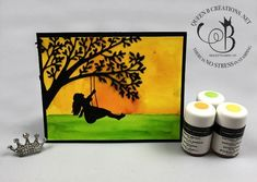 Stampin' Up! Silhouette Scenes bundle and pigment sprinkles handmade card by Lisa Ann Bernard of Queen B Creations Stampin Pretty, Stampin Up, Mary Fish, Brusho, Queen B, Pretty Cards, Simple Art, Watercolor Paper, Really Cool Stuff