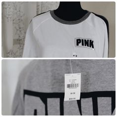 Pullover PINK sweater Victoria's Secret 86 pullover sweater. Material is cotton blend. Inside fabric is fleece. NWT Victoria's Secret Sweaters