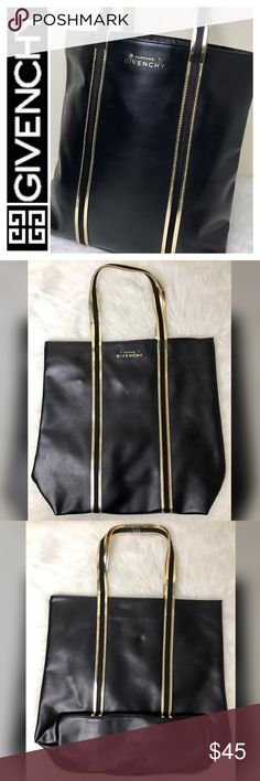 "NWOT Givenchy Parfums Designer Tote Bag Givenchy Parfums Designer Tote Bag in Black Faux Leather with Gold/Black Trim and Handles, Nylon Interior with Iconic Givenchy Logo, 1 Interior Zip Pocket, 1 Interior Slip Pocket, Measures Approx. 14""x 11""x 4 1/2"" with a 7"" Drop Handle, NWOT Givenchy Bags Totes"