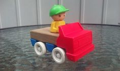 CBS Toys Wood And Plastic Car Vehicle With Driver Vintage 1984  #cbs