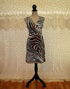 Womens Knit Dress Sleeveless V Neck Midi Animal Print Tiger