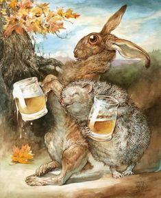 "Hase und Igel - Biertrinker - ""The Tipsy Two"" ~ Omar Rayyan Art And Illustration, Omar Rayyan, Rabbit Art, Bunny Art, Art Graphique, Whimsical Art, Illustrators, Fantasy Art, Fairy Tales"