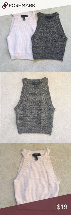 New bundle of high halter knit crop top New bundle of high halter knit crop top.  In pink and specked brown marbled colors. Like Brandy Melville. Washed once but never worn. Forever 21 Tops Tank Tops