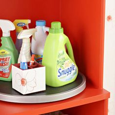 Laundry Room Storage Projects ~ The use of a rubber top lazy susan will make having to use a high shelf in my new closet turned laundry room a BIG help!
