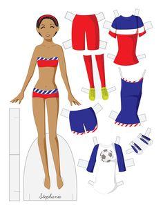 Paper Doll School: Fashion Friday - Stephanie. A soccer paper doll!