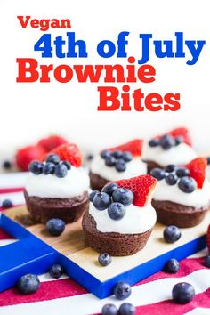 of July Brownies recipe- these are dairy-free, VEGAN, super easy to make, and perfect for an Independence Day party! Everyone will love this bite sized dessert! / fourth of july dessert / summer dessert / red white and blue food / Vegan Cupcake Recipes, Vegan Cupcakes, Brownie Recipes, Vegan Recipes, Dessert Recipes, Vegan Meals, Dessert Ideas, Free Recipes, 4th Of July Desserts