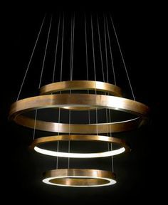 Luminaires design - by Italian architect Massimo Castagna, Light Ring Chandelier for Henge Ring Lamp, Ring Chandelier, Chandelier Lighting, Pendant Lamp, Luxury Chandelier, Brass Pendant, Chandeliers, Cool Lighting, Modern Lighting