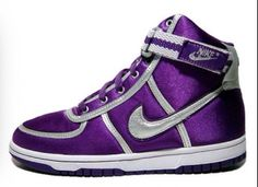 women high tops - Fashion Jot- Latest Trends of Fashion Silver Metallic Shoes, Play Shoes, Nike High Tops, Purple Nikes, All Things Purple, Purple Stuff, Decorated Shoes, Purple Rain, Nike Shoes