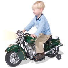 The Children's Electric 1948 Indian Motorcycle - Hammacher Schlemmer -  This 2 MPH classic has working headlights and taillights, and authentic engine sounds.
