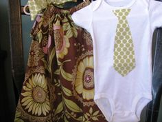 Pillowcase dress & matching brother onesie  Amy by alisplace1, $31.00....would be perfect for the little man's newborn pics!