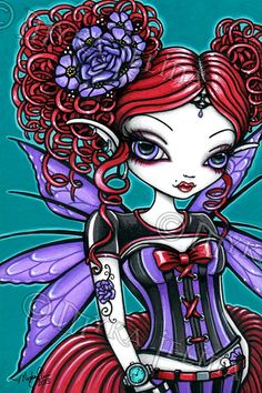 Hey, I found this really awesome Etsy listing at https://www.etsy.com/listing/166877642/rosie-fairy-gothic-rose-tattoo-fairy-4x6