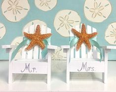 Beach Wedding Cake Topper - 2 Mini Adirondack Chairs with Starfish - 6 Chair Colors - 24 Ribbon Choices - Coastal Beach Theme Mr. and Mrs.