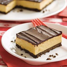 Buckeye Pie--This pie version of buckeye balls candy has a chocolate wafer crust, a sweet and creamy peanut butter filling, and is covered with a chocolate ganache.