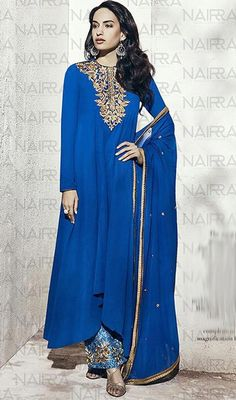 Blue Color Embroidered Georgette Palazzo Dress