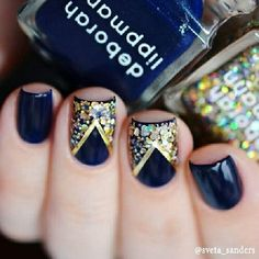 Navy blue nails with gold striping tape and glitter on the accent nails! Navy Blue Nail Designs, Navy Blue Nails, Gold Nail Designs, Blue Gold, Dark Blue, Chevron Nails, Fancy Nails, Love Nails, How To Do Nails