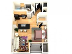 3D Floor Plan image 1 for the Eternity Studio Floor Plan of Property The Millennium Westshore