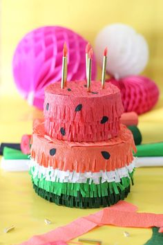 Bday diy crafts watermelon birthday k Diy And Crafts Sewing, Crafts To Sell, Diy Crafts, Birthday Pinata, 2nd Birthday, Watermelon Birthday, Watermelon Cake, Pinata Cake, Wedding Wine Bottles
