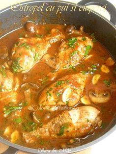 Ostropel-cu-pui-si-ciuperci-2 Meat Recipes, Chicken Recipes, Cooking Recipes, Healthy Recipes, Romania Food, Potato Dinner, Healthy Meal Prep, Food Cravings, Love Food