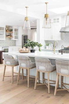 bright white + natural wood kitchen decor with brass + glass pendent lights for the kitchen island + woven bar stools + gold faucet and cabinet hardware // Eastside Costa Mesa — Pure Salt Interiors Kitchen Interior, New Kitchen, Kitchen Ideas, Awesome Kitchen, Kitchen Layout, Kitchen Counter Inspiration, Kitchen Furniture, Wood Furniture, White Kitchen Inspiration
