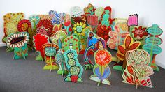 """Pop-Up Garden Installation.38 individual acrylic wood cut outs on slotted stands.Average size of pieces 24"""" h to 36"""" h .(c) 2013 Barbara Gilhooly"""