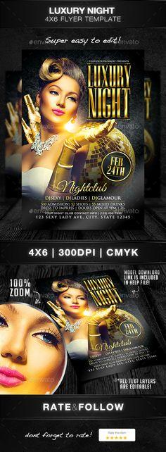 Luxury Night Flyer Template PSD #design Download: http://graphicriver.net/item/luxury-night-flyer-template/14072973?ref=ksioks